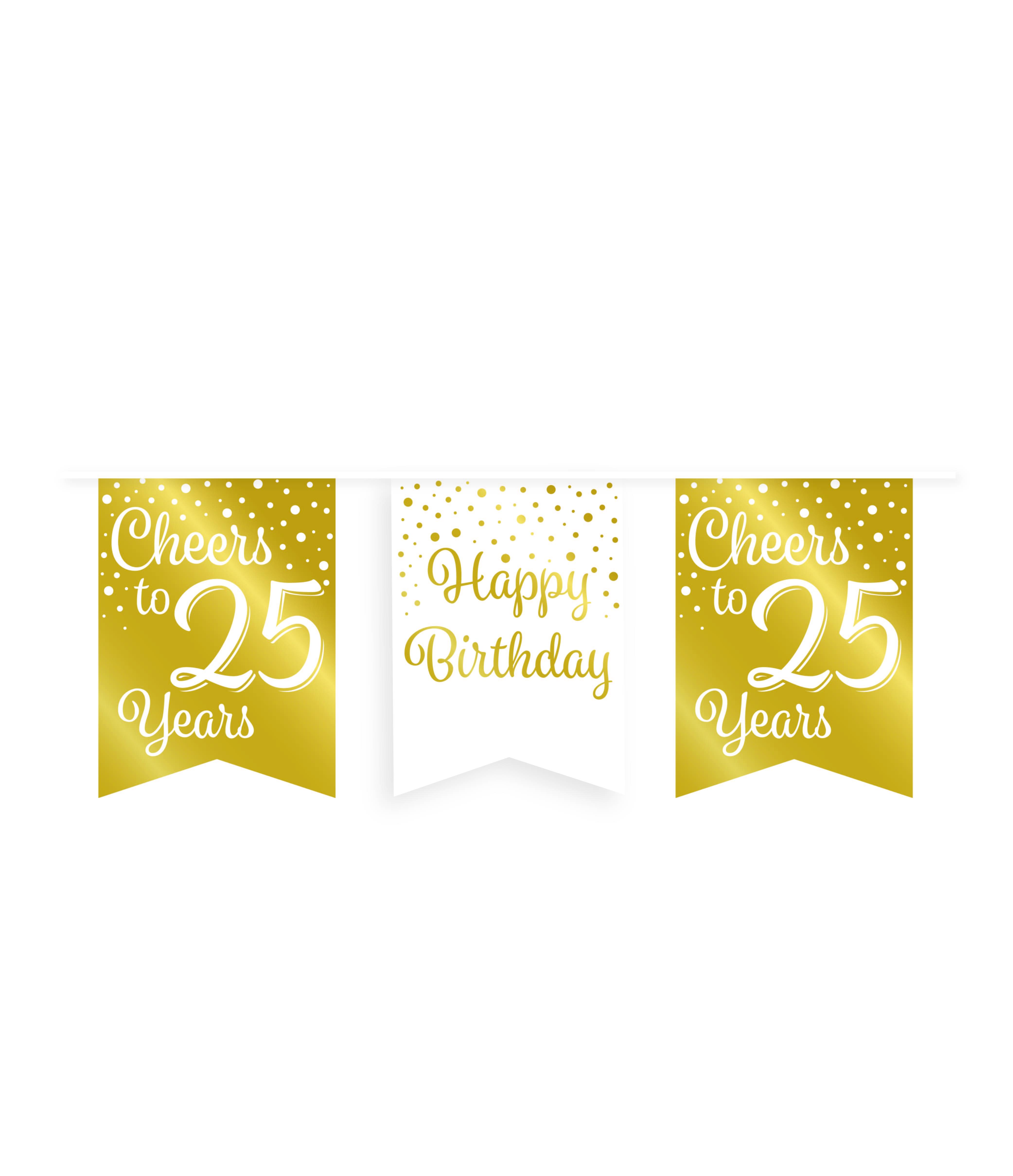6m Vlaggenlijn Goud/Wit Cheers to 25 Years