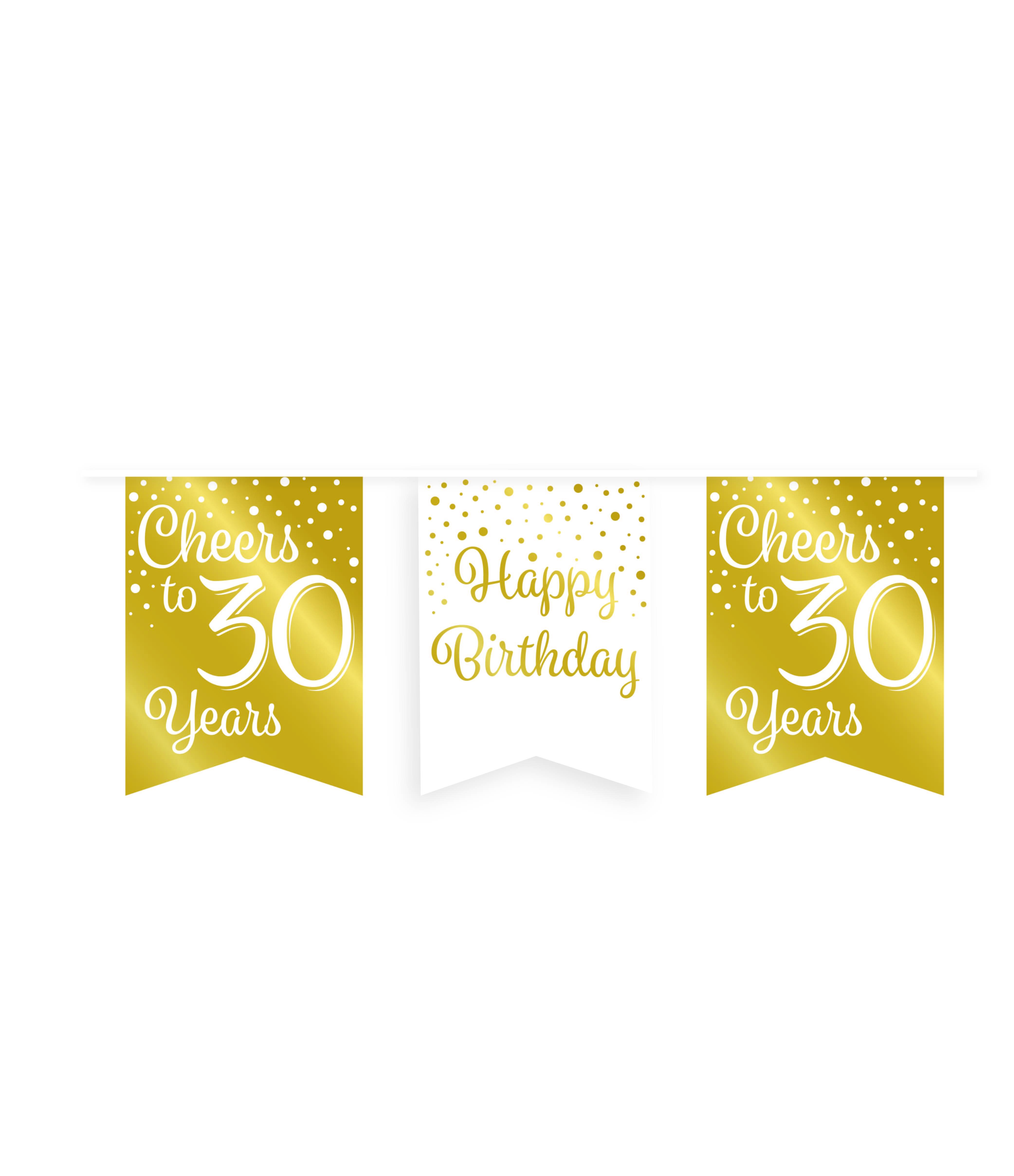 6m Vlaggenlijn Goud/Wit Cheers to 30 Years