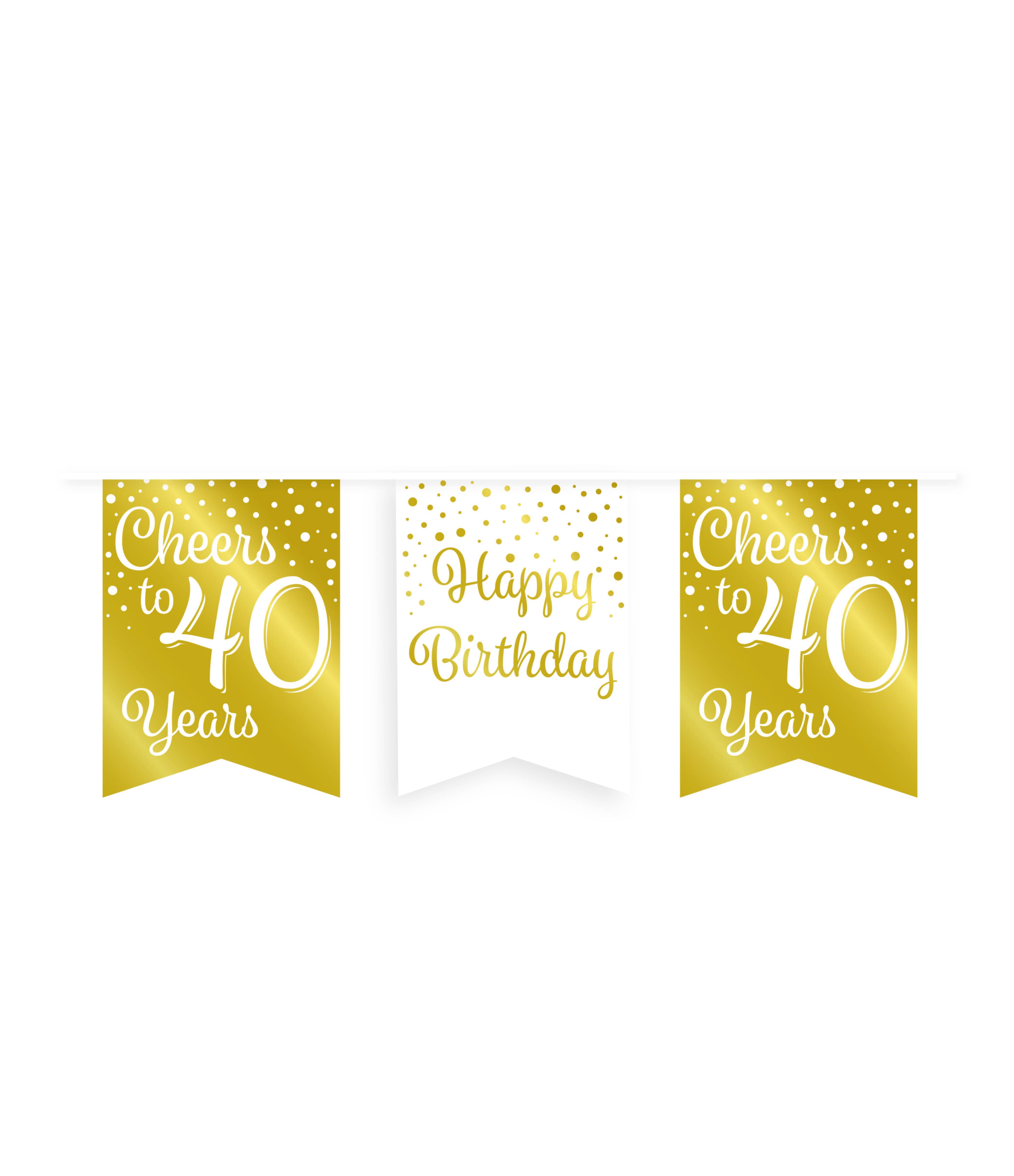 6m Vlaggenlijn Goud/Wit Cheers to 40 Years