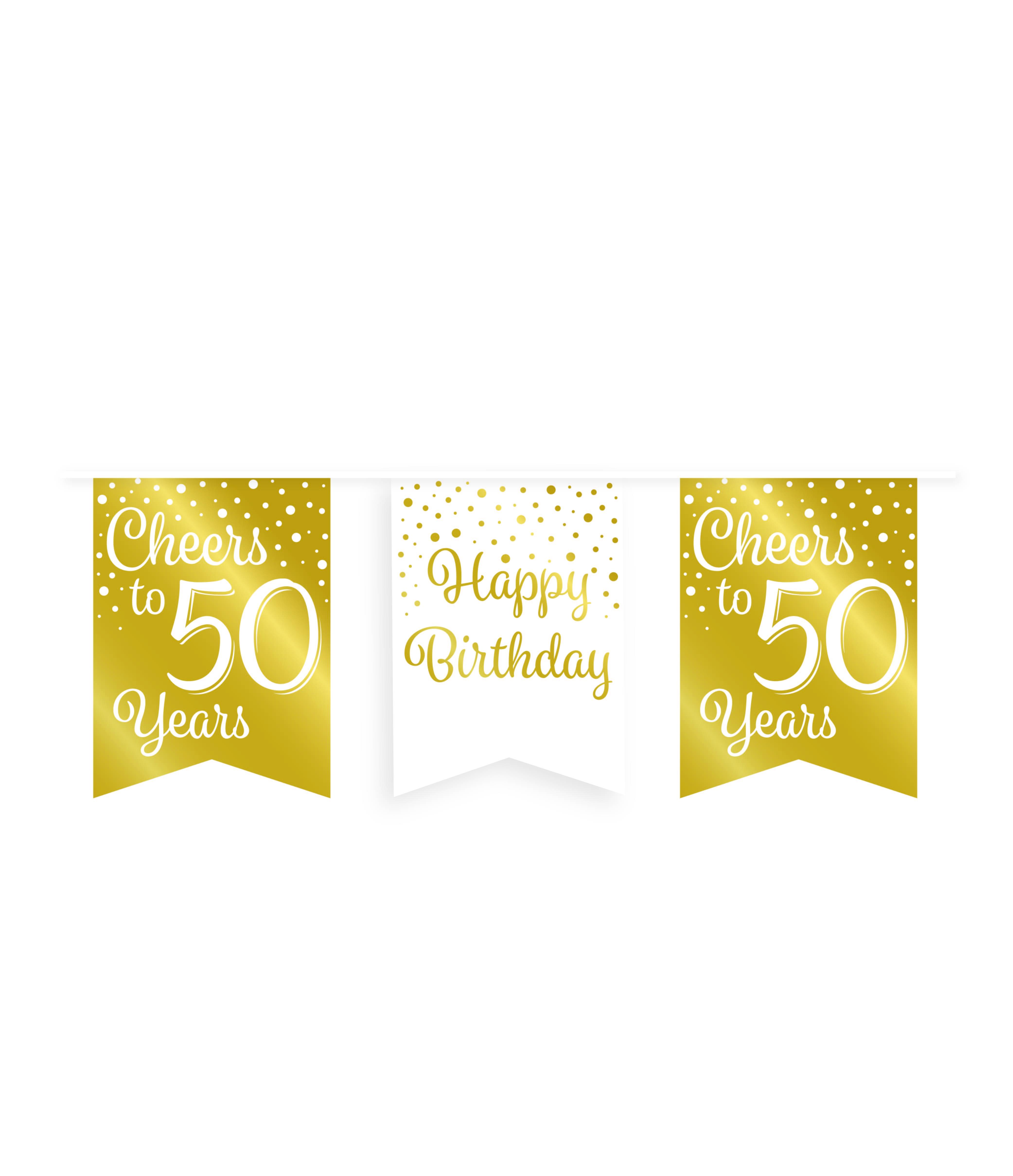 6m Vlaggenlijn Goud/Wit Cheers to 50 Years
