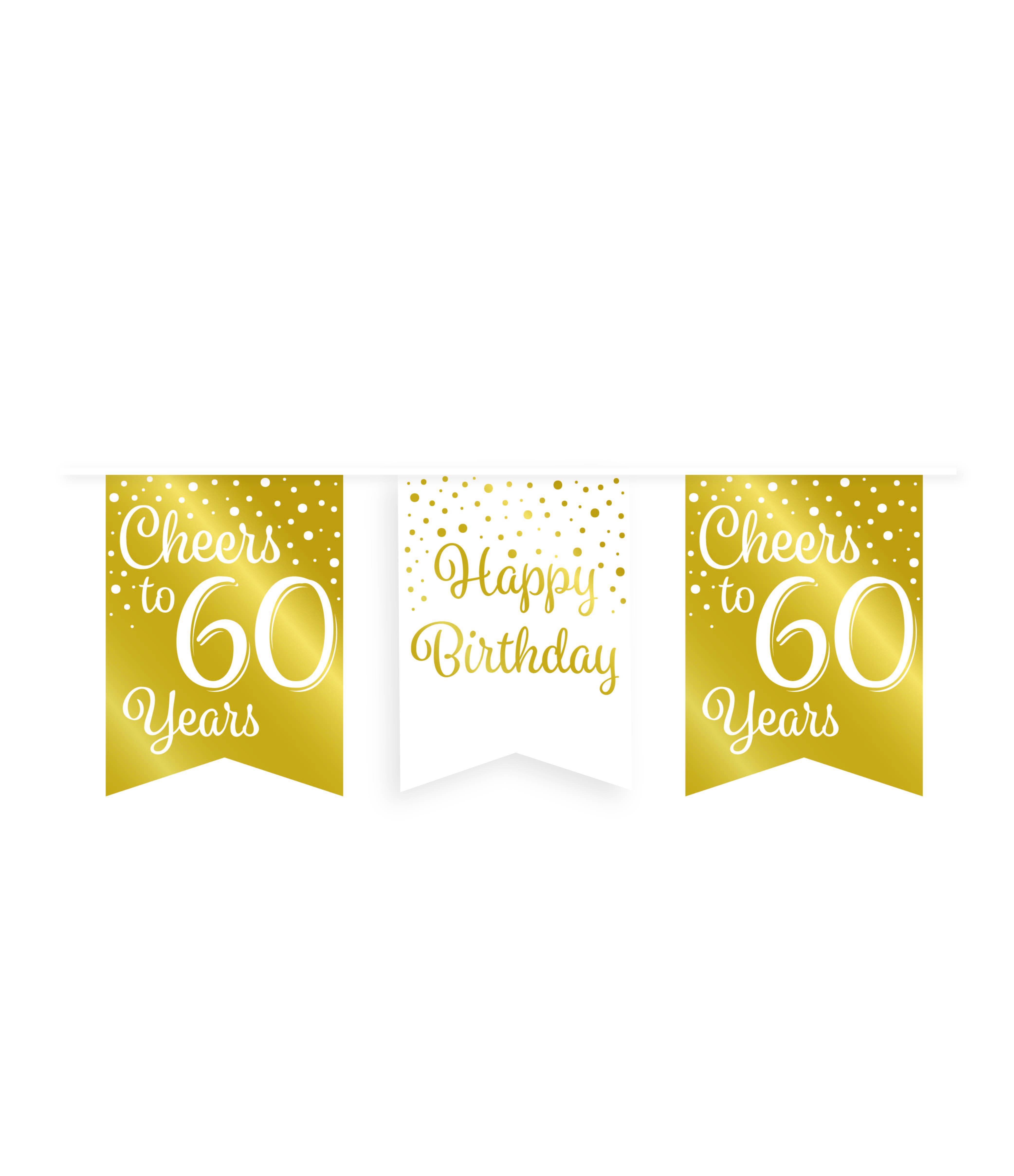 6m Vlaggenlijn Goud/Wit Cheers to 60 Years
