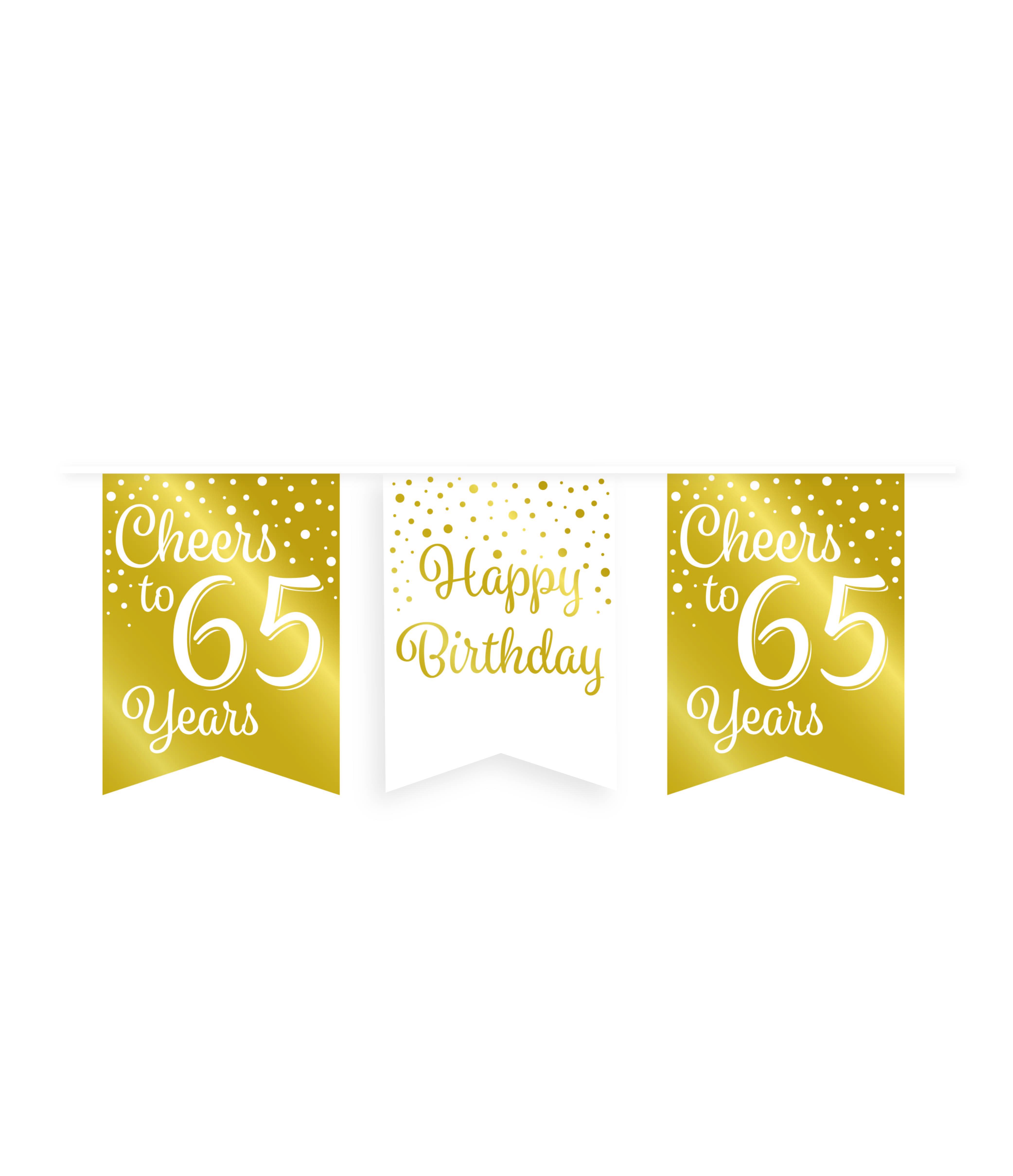 6m Vlaggenlijn Goud/Wit Cheers to 65 Years