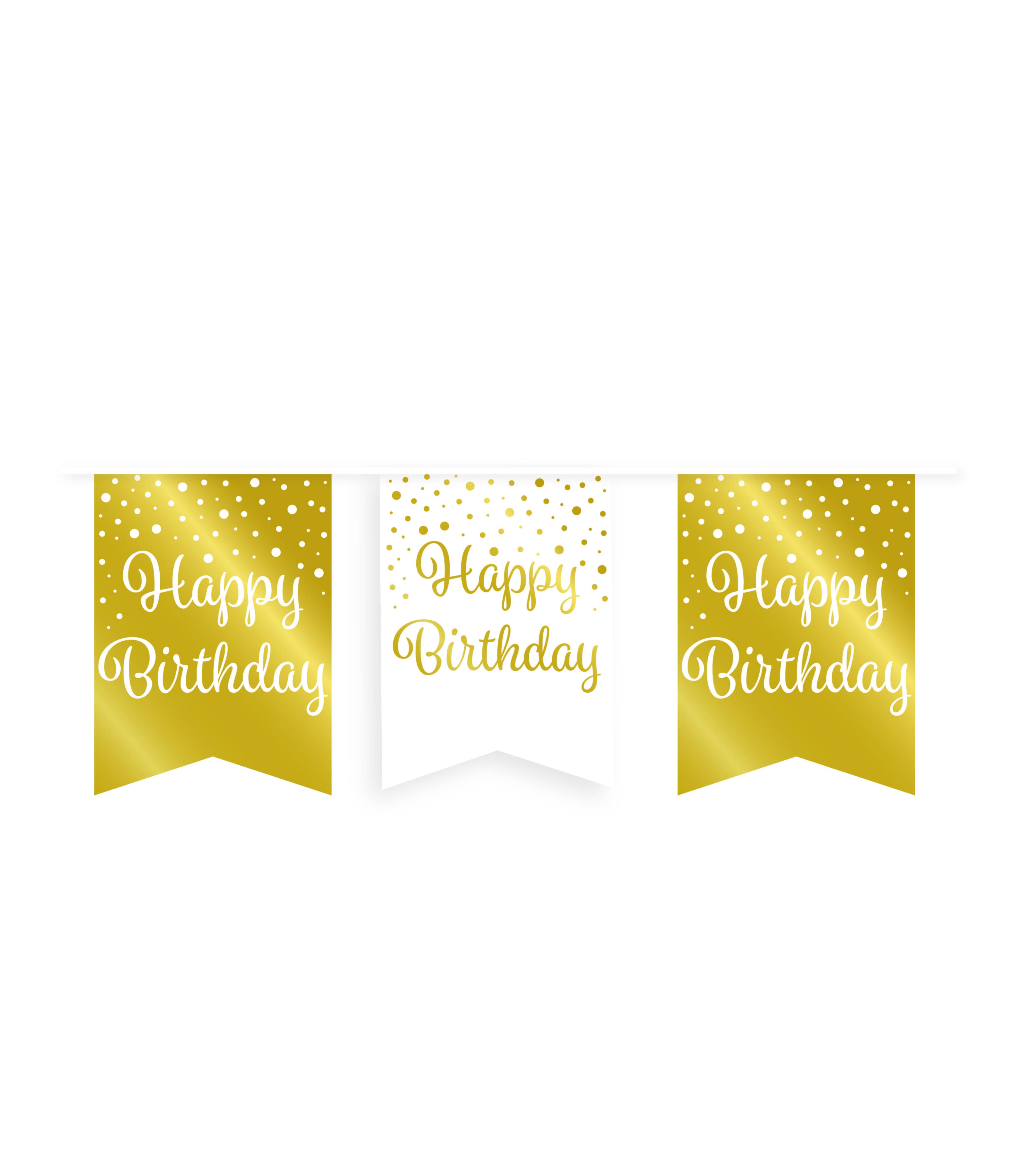 6m Vlaggenlijn Goud/Wit Happy Birthday