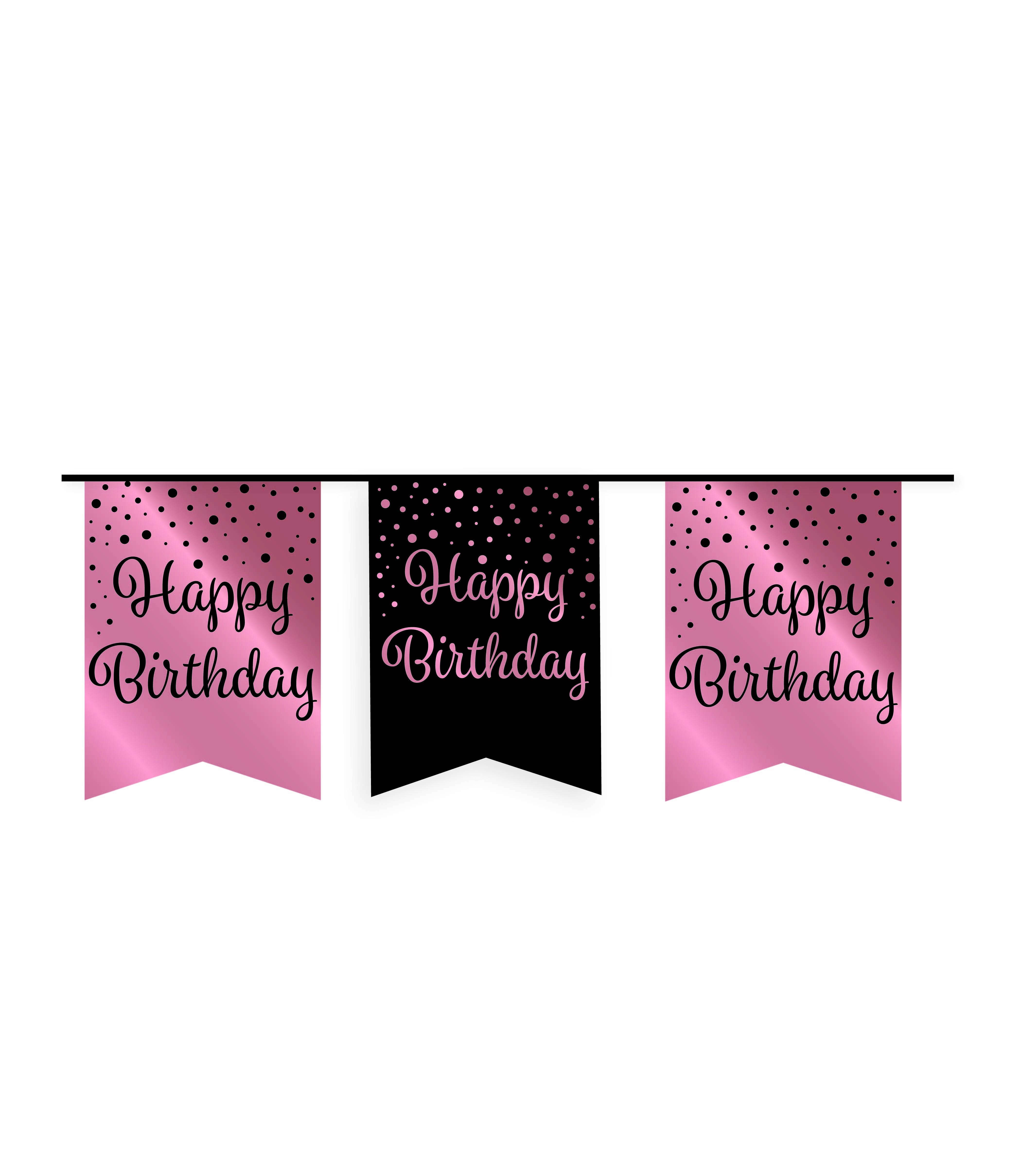 6m Vlaggenlijn Roségoud/Zwart Happy Birthday