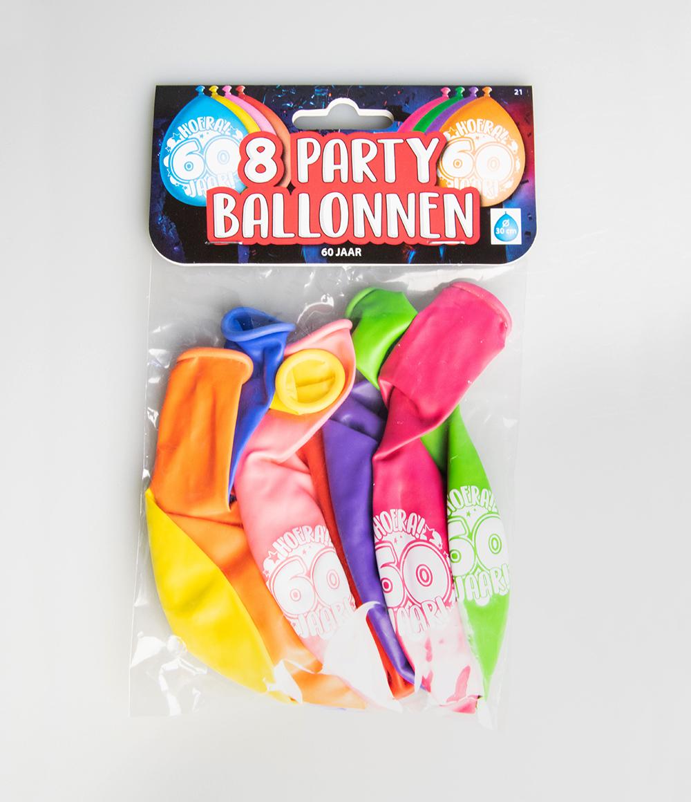 """8st Ballonnen Hoera! 60 Jaar! 12"""""""
