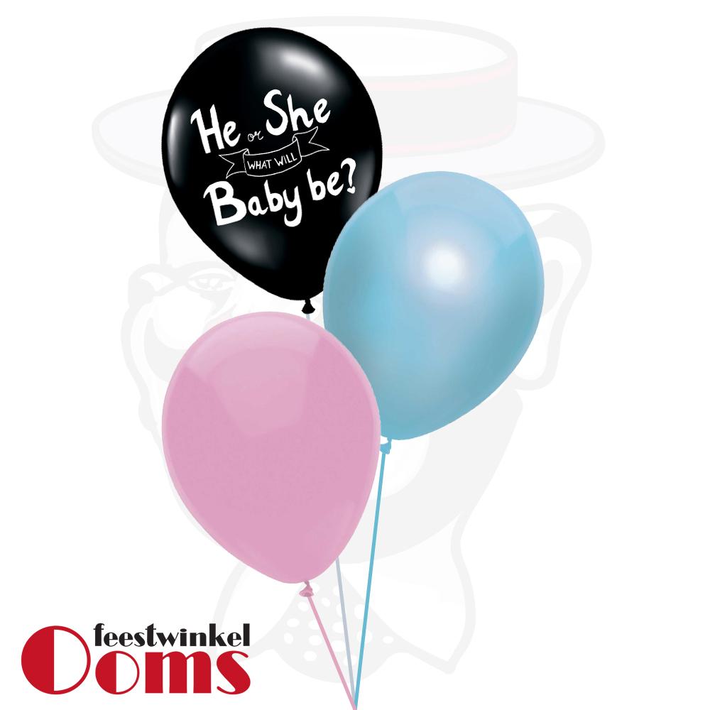 Ballonnen Tros 3st Gender Reveal met Confetti