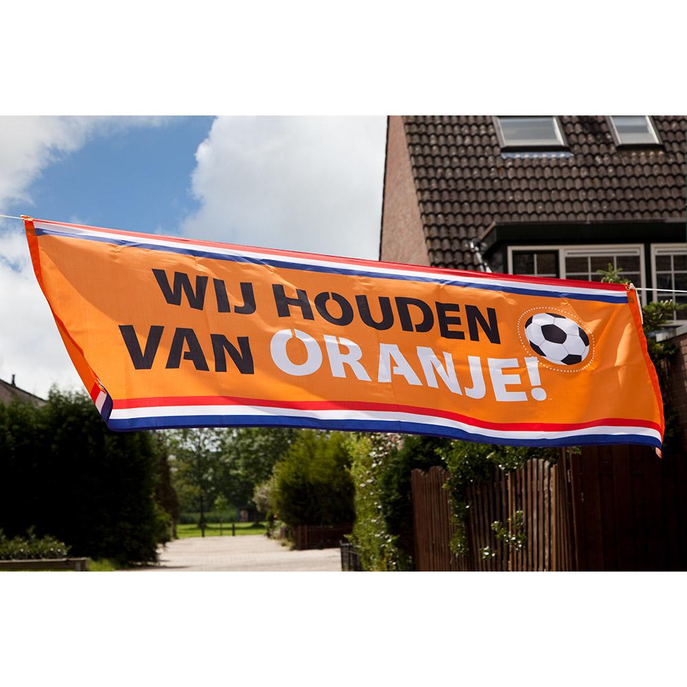 Polyester Banner Houden van Oranje 74x220cm