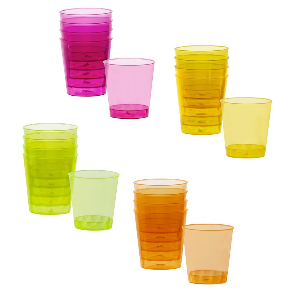 20st Shotglaasjes Plastic Neonkleuren
