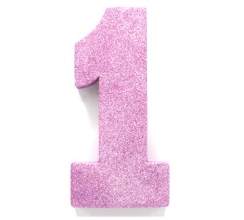"""Tafeldecoratie """"1"""" Roze Glitter 20cm"""