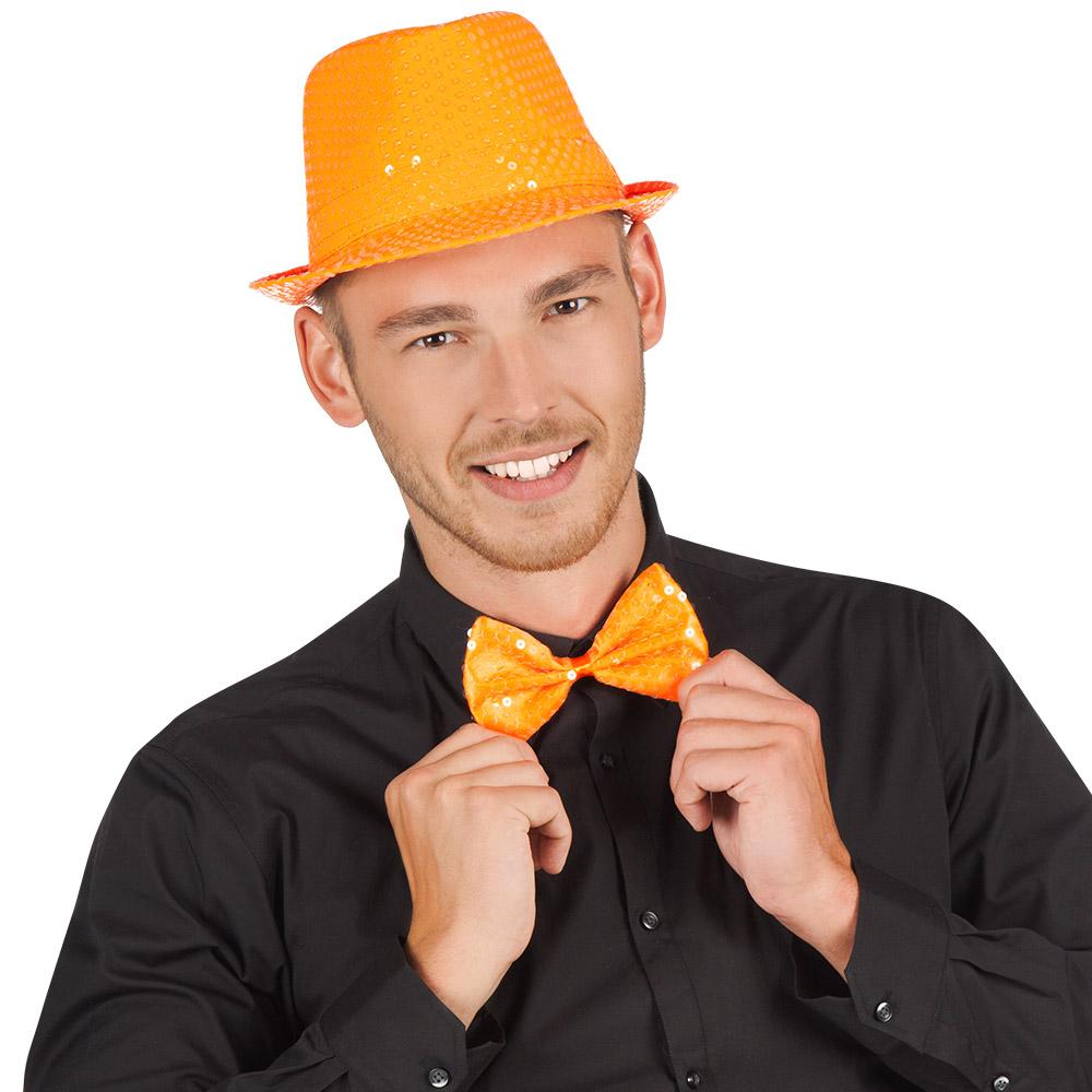 Vlinderstrik Oranje met Pailletten