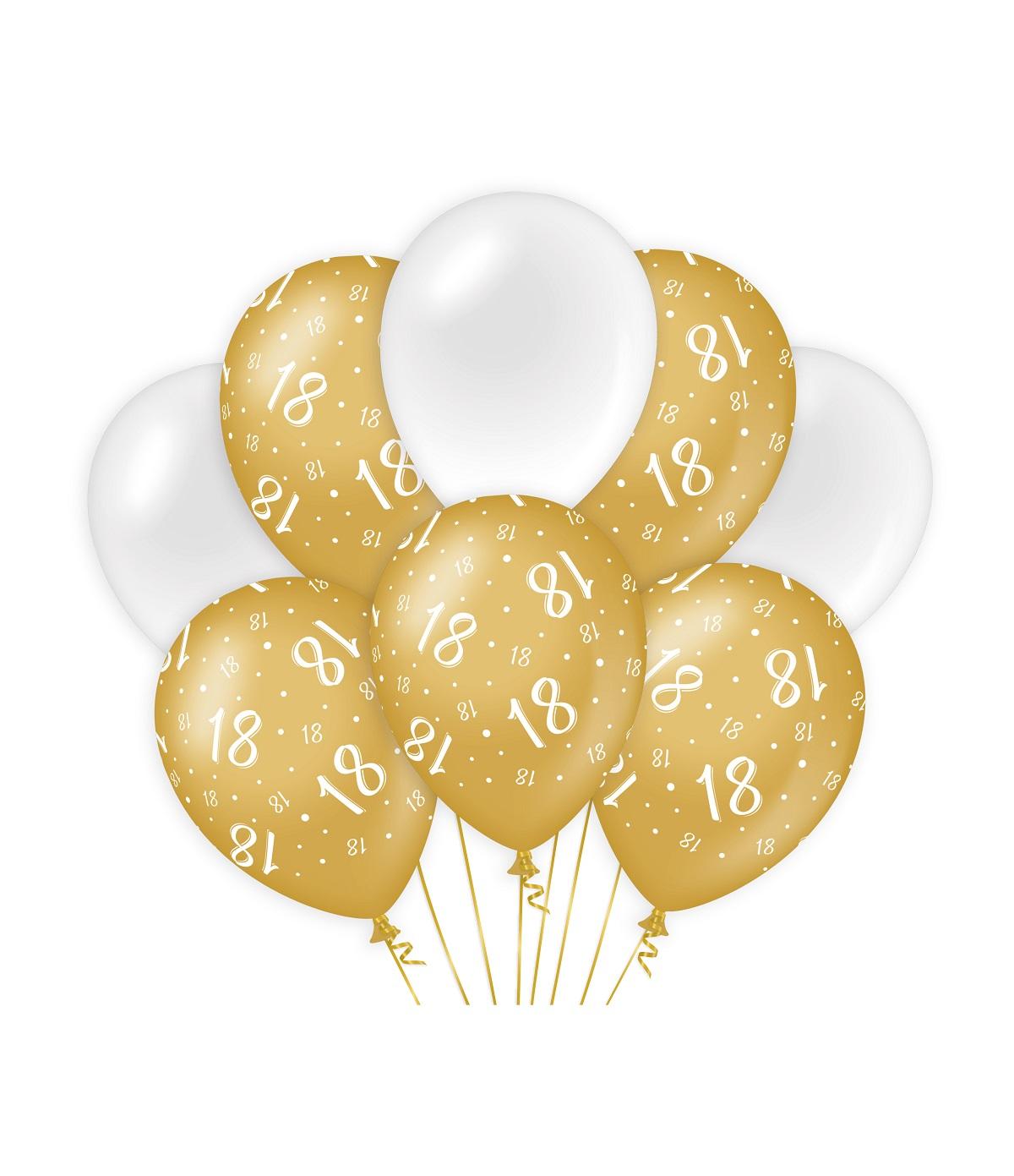 "8st Ballonnen 18 Jaar Goud/Wit 12"""