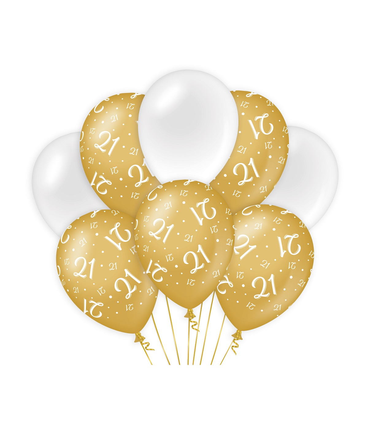 "8st Ballonnen 21 Jaar Goud/Wit 12"""