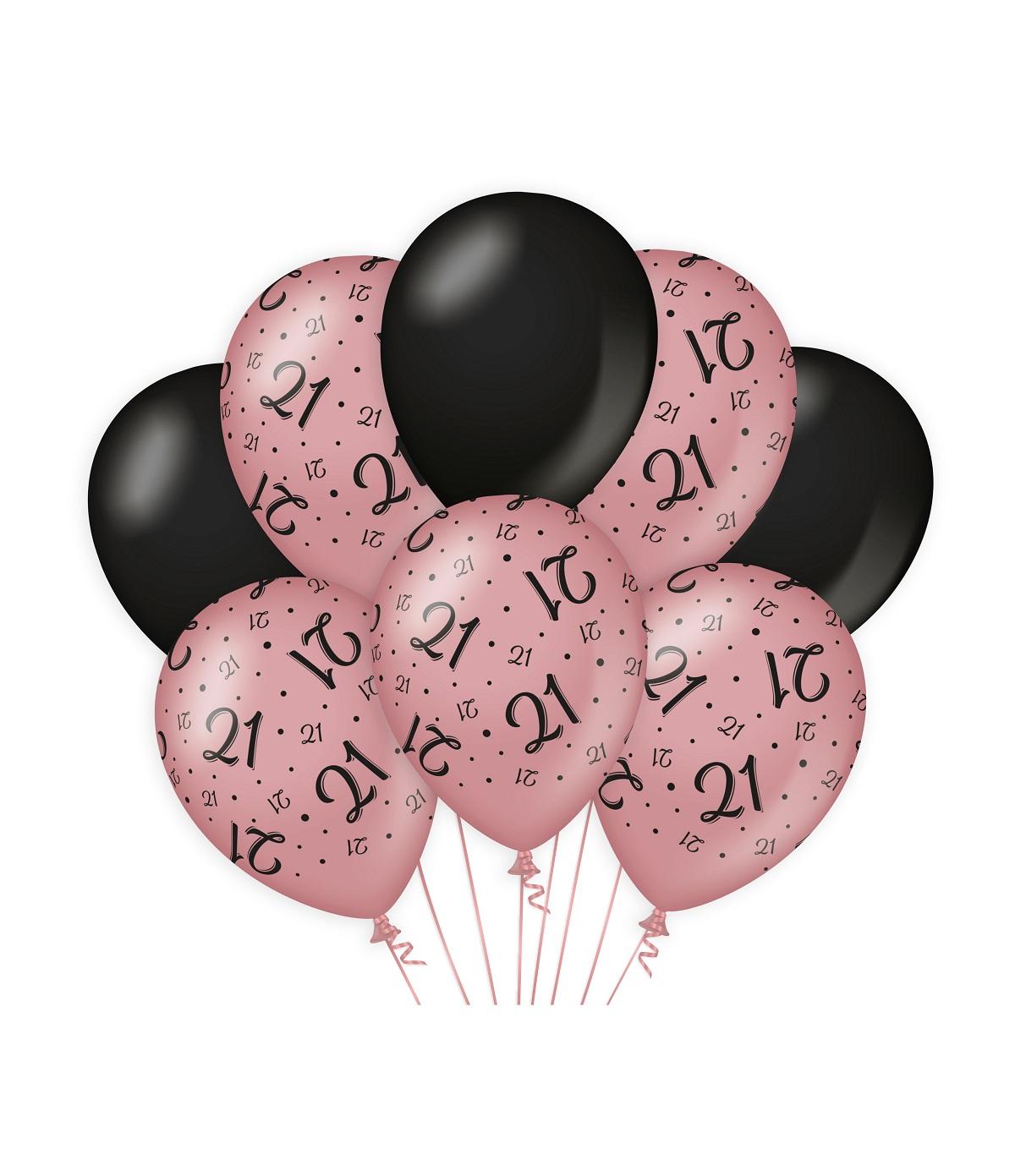 "8st Ballonnen 21 Jaar Roségoud/Zwart 12"""