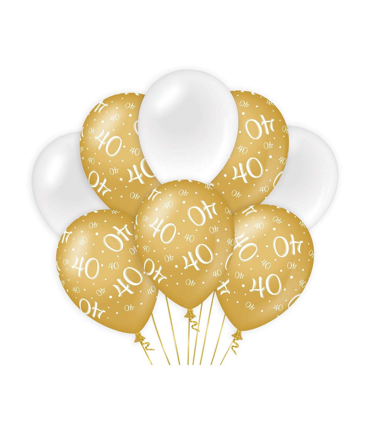 "8st Ballonnen 40 Jaar Goud/Wit 12"""
