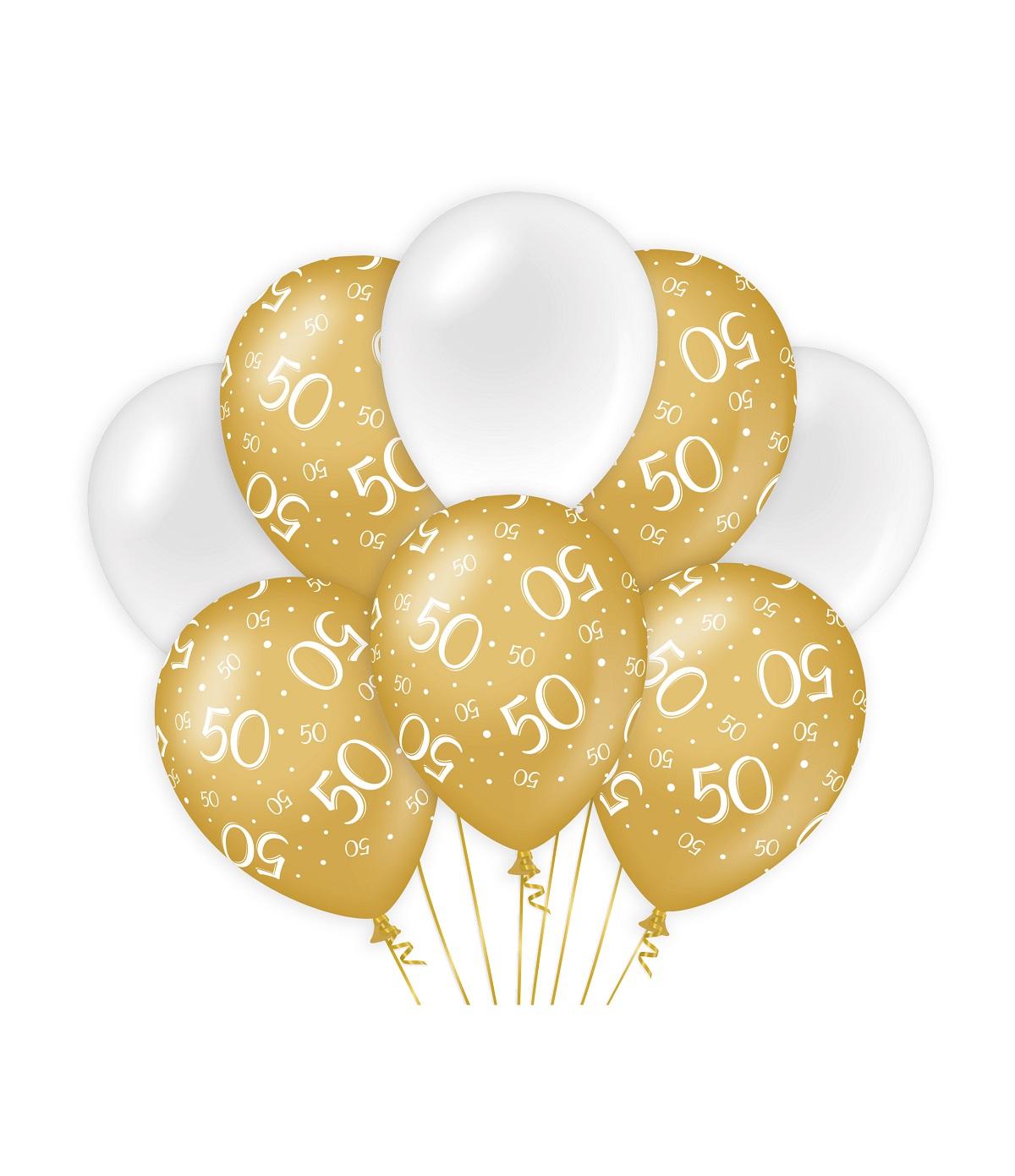 "8st Ballonnen 50 Jaar Goud/Wit 12"""