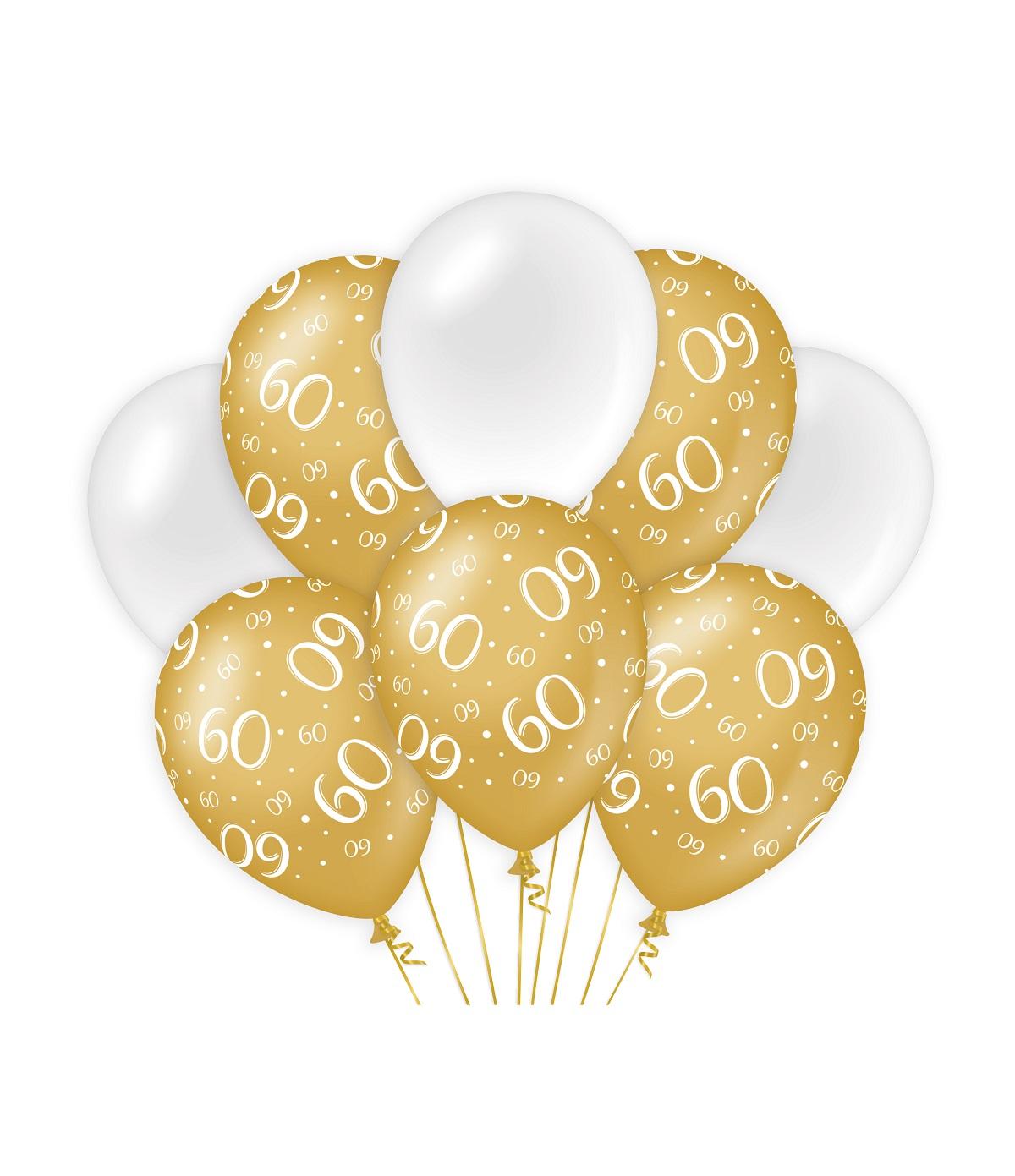 "8st Ballonnen 60 Jaar Goud/Wit 12"""
