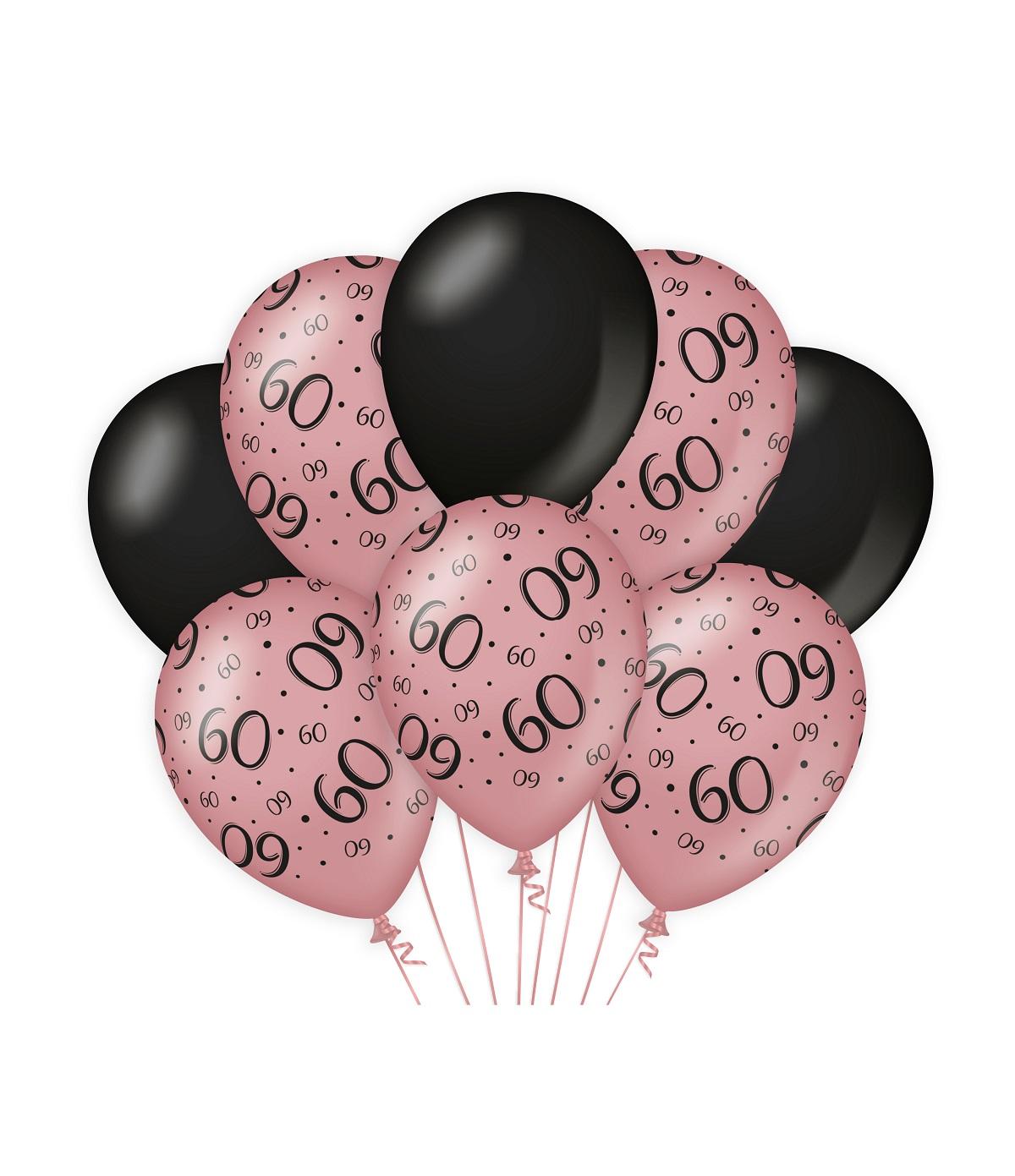 "8st Ballonnen 60 Jaar Roségoud/Zwart 12"""