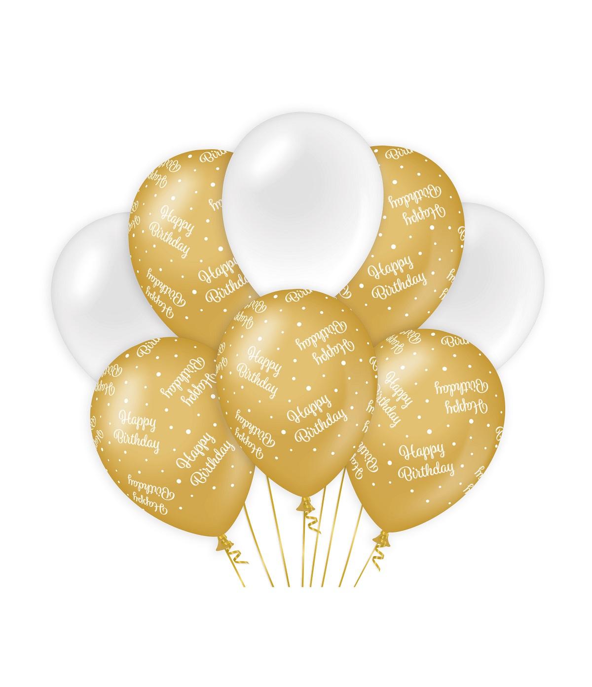 """8st Ballonnen Happy Birthday Goud/Wit 12"""""""