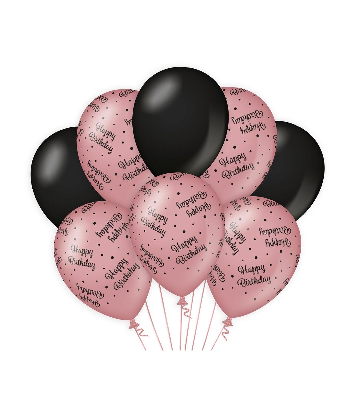 "8st Ballonnen Happy Birthday Roségoud/Zwart 12"""