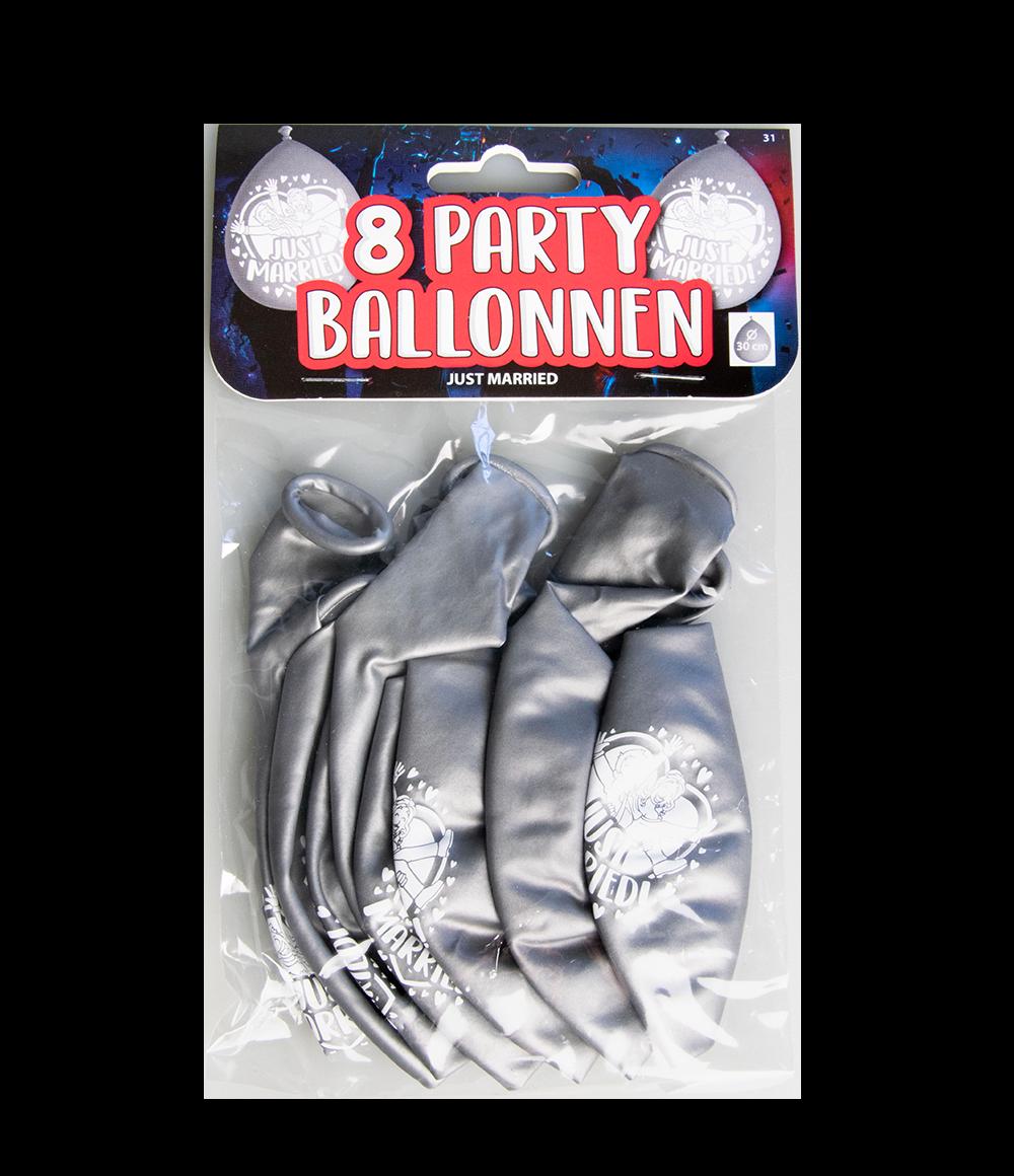 """8st Ballonnen Just Married! Zilver 12"""""""
