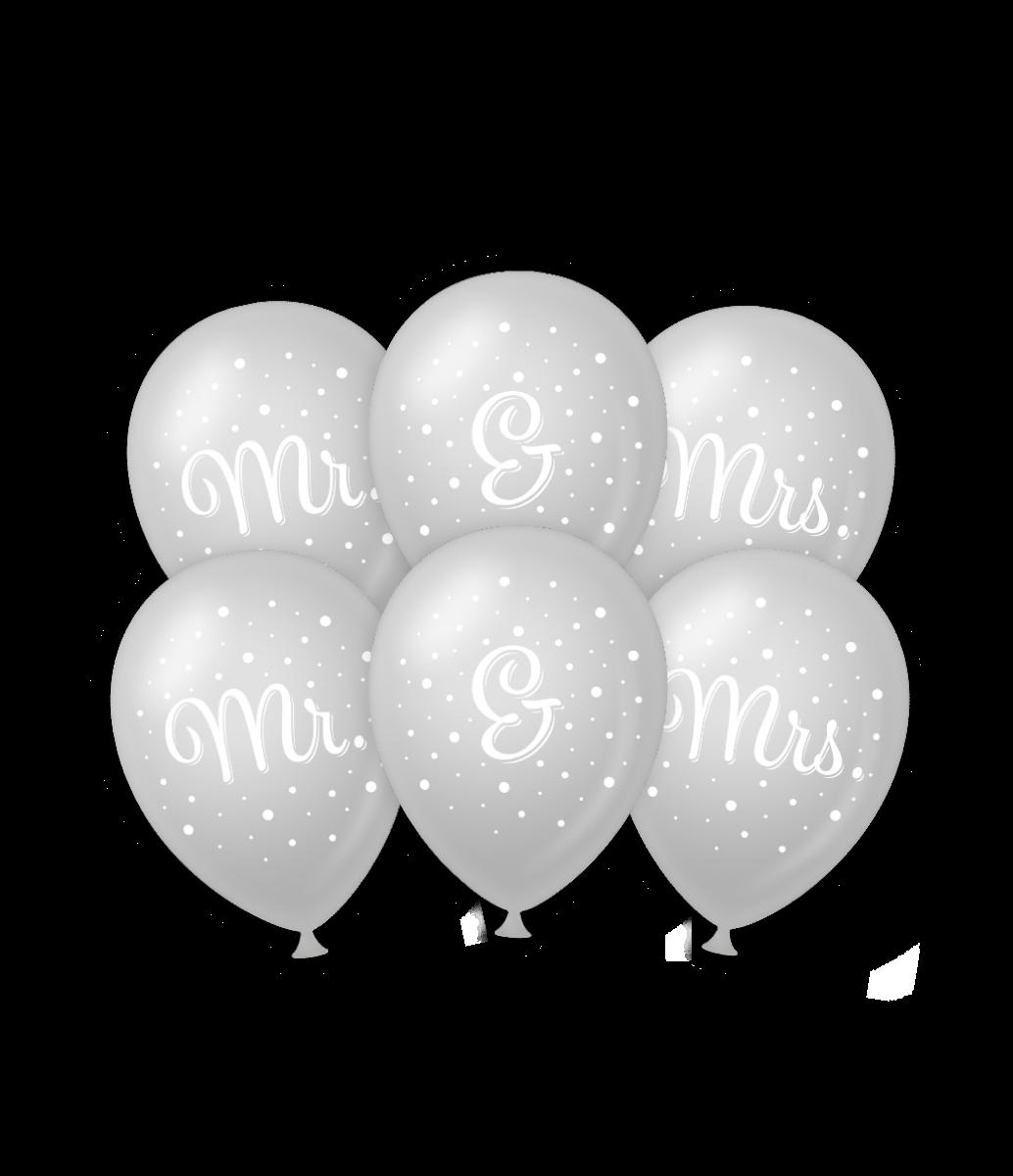 """6st Helium Ballonnen Mr. & Mrs. Zilver 12"""""""