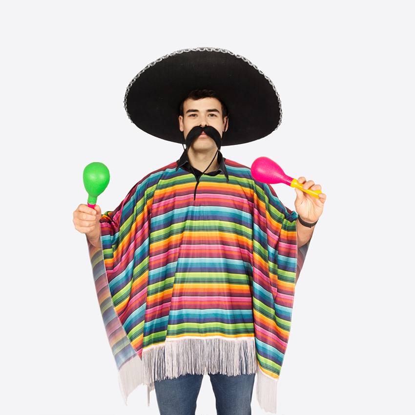 Mexicaanse Poncho Regenboog Volwassen