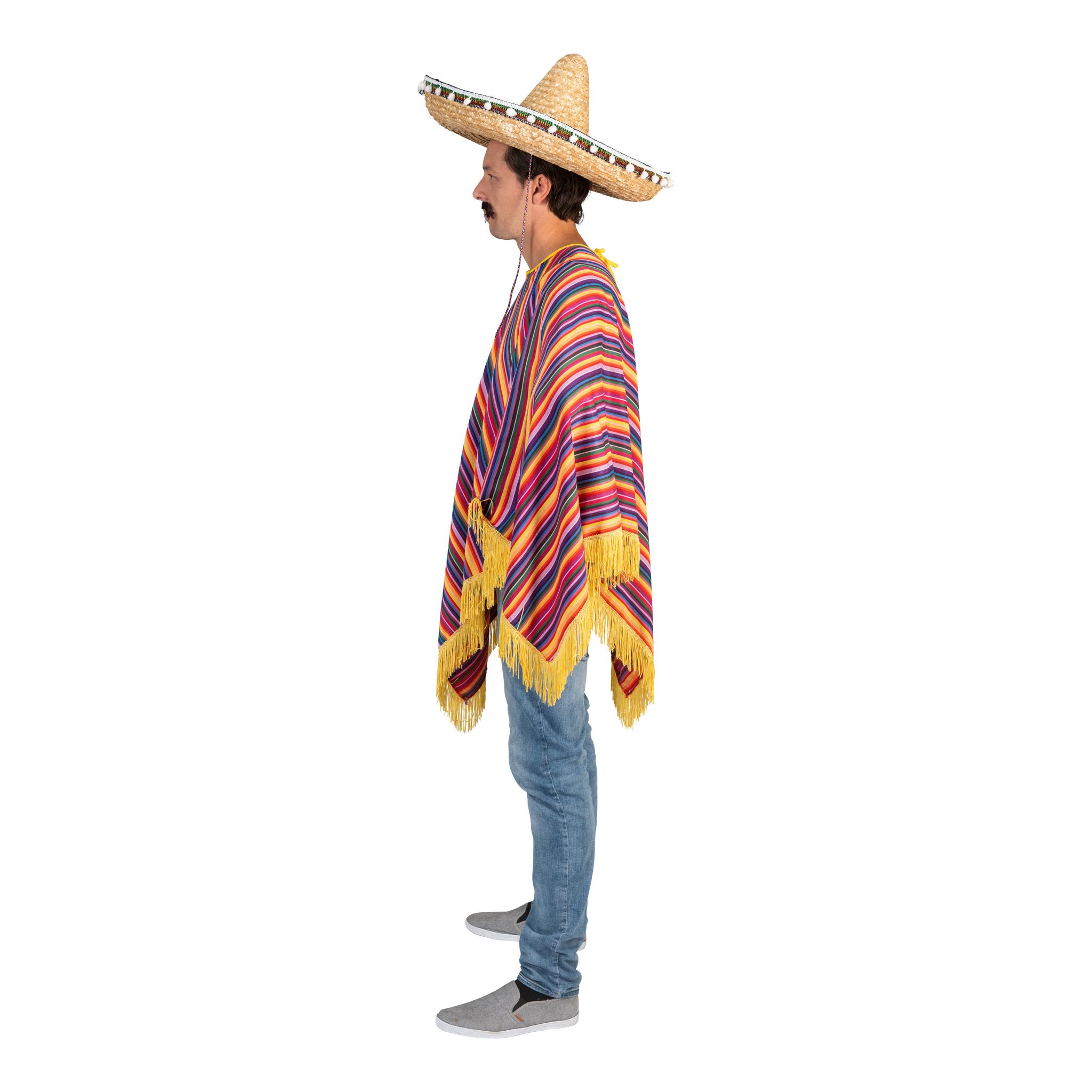 Mexicaanse Poncho Strepen Volwassen
