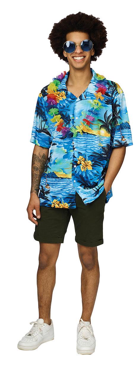 Shirt Hawai Blauw Volwassen