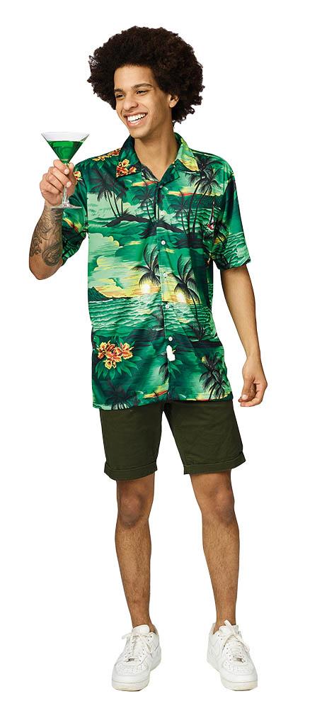 Shirt Hawai Groen Volwassen