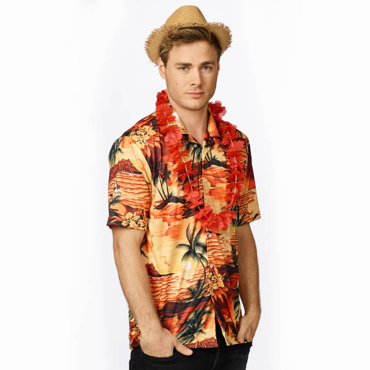 Shirt Hawai Oranje Volwassen