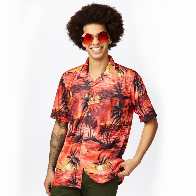Shirt Hawai Rood Volwassen