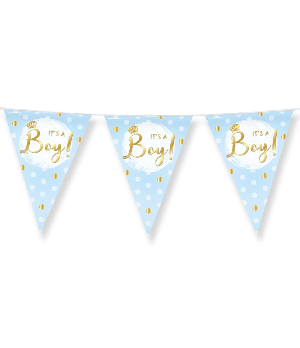 10m Vlaggenlijn It's a Boy! Blauw/Goud