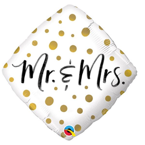 Folieballon Mr. & MRS. Stippen Goud 46cm