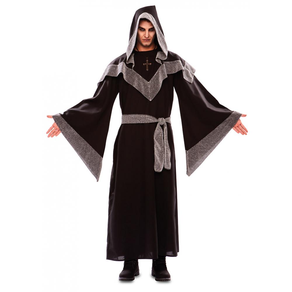 Kostuum Donkere Tovenaar Zwart-Zilver Heren
