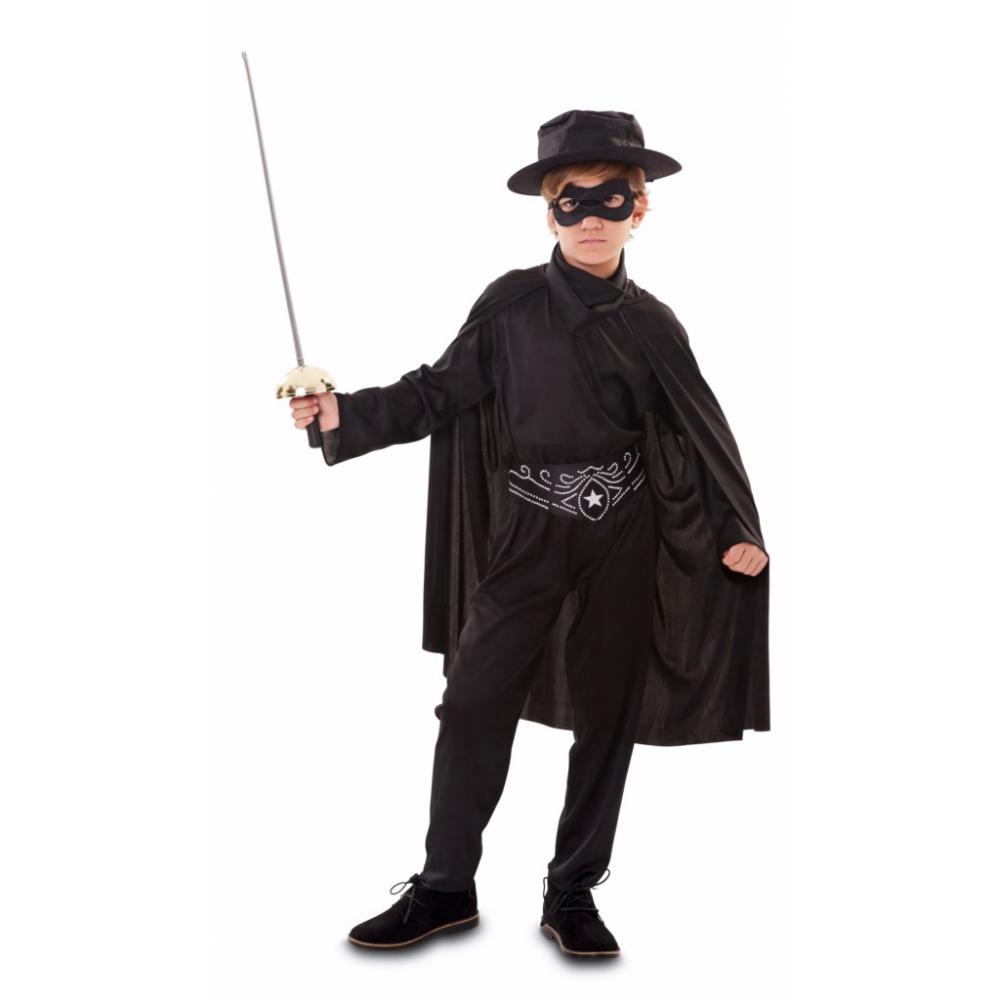 Kostuum Held/Zorro Zwart met Cape Kind