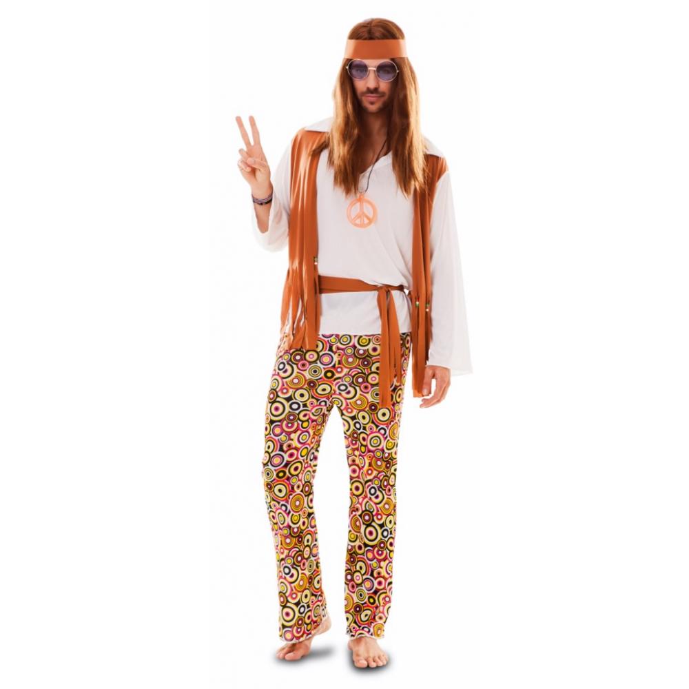 Kostuum Hippie Oranje Heren
