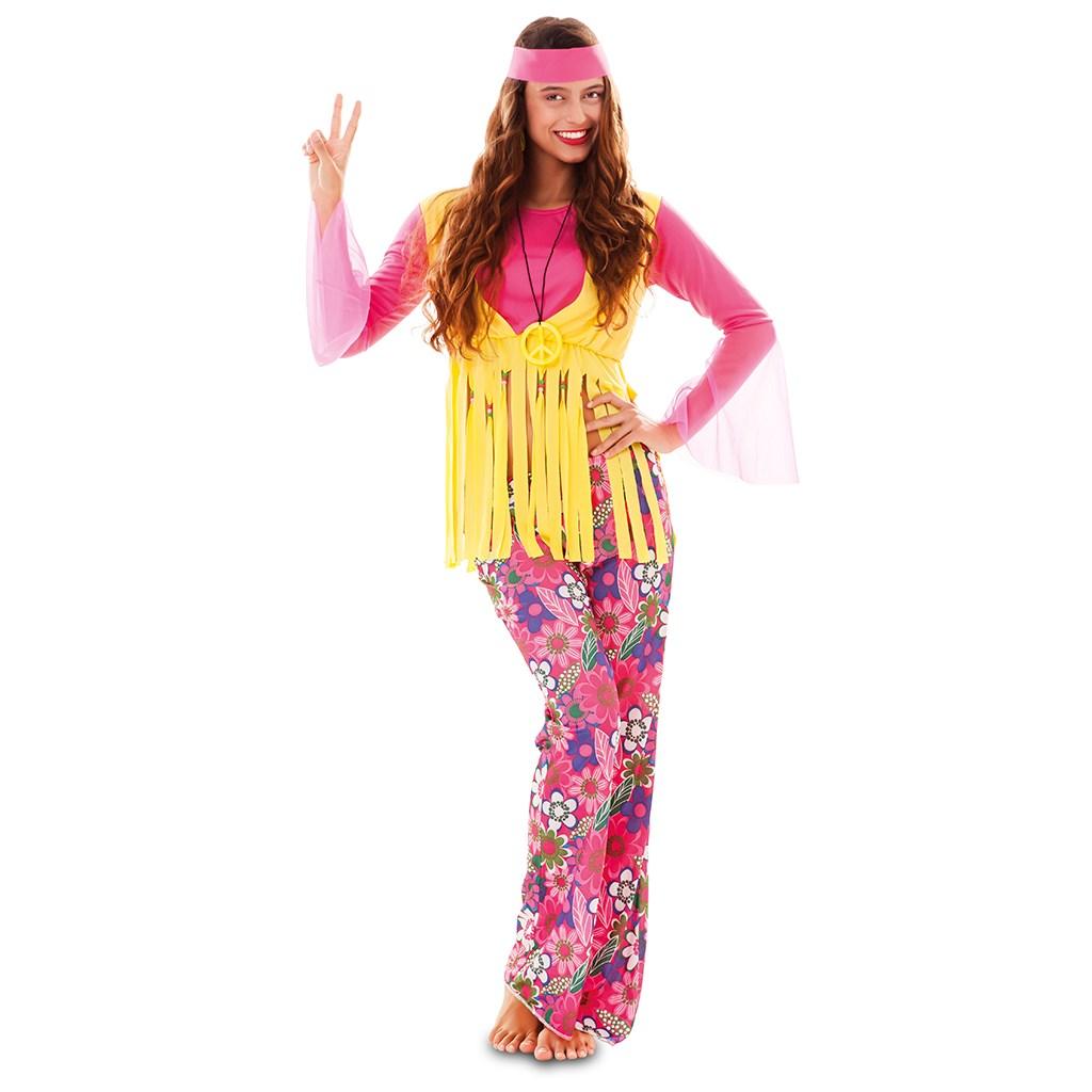 Kostuum Hippie Roze Dames