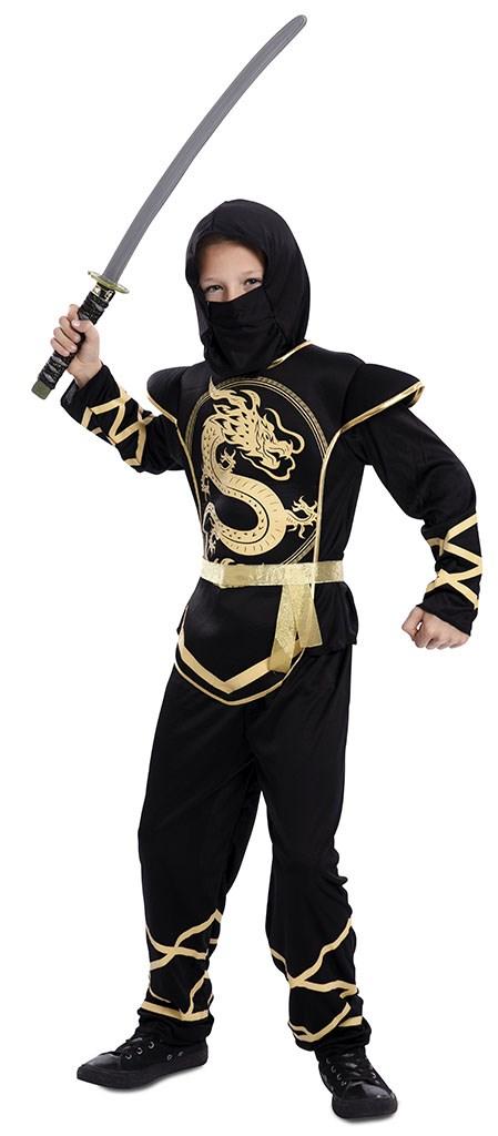 Kostuum Ninja Draak Zwart/Goud Jongen