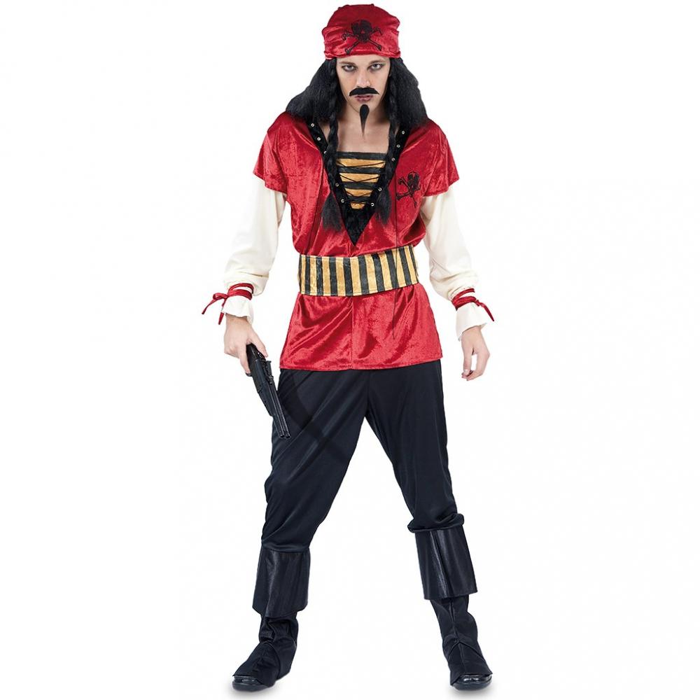 Kostuum Piraat Rood Heren Mt.M/L