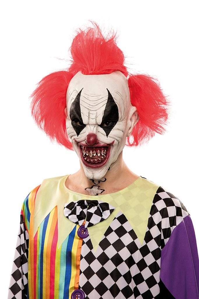 Rubber Masker Duivelse Clown met Punk Haar