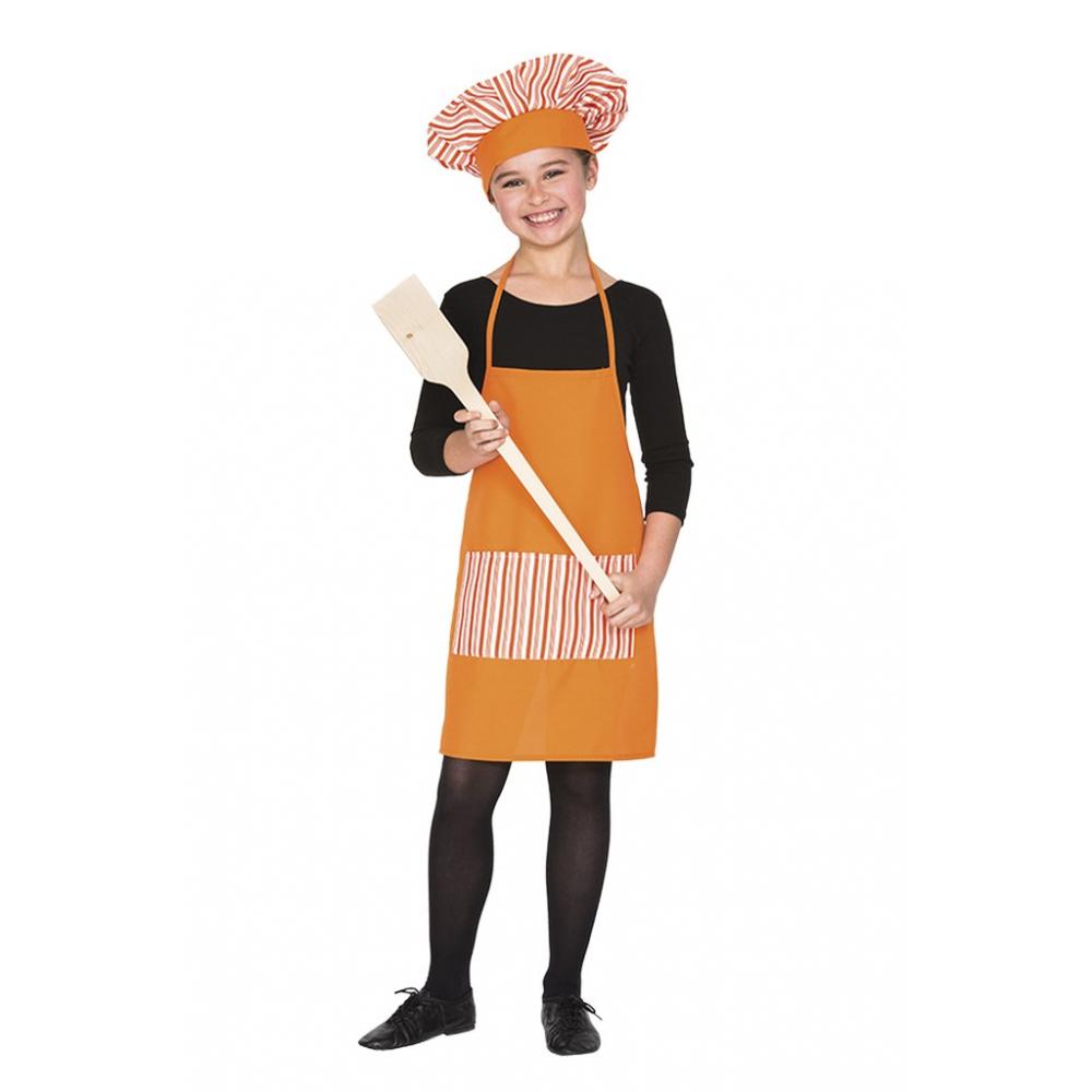 Schort Kok met Muts Oranje Kind One Size