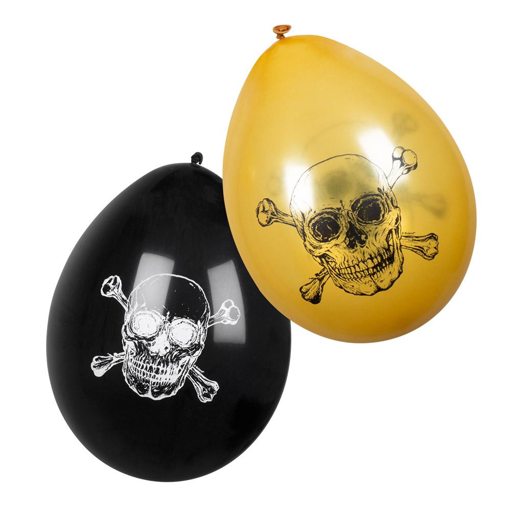 6st Ballonnen Piraten Zwart/Goud