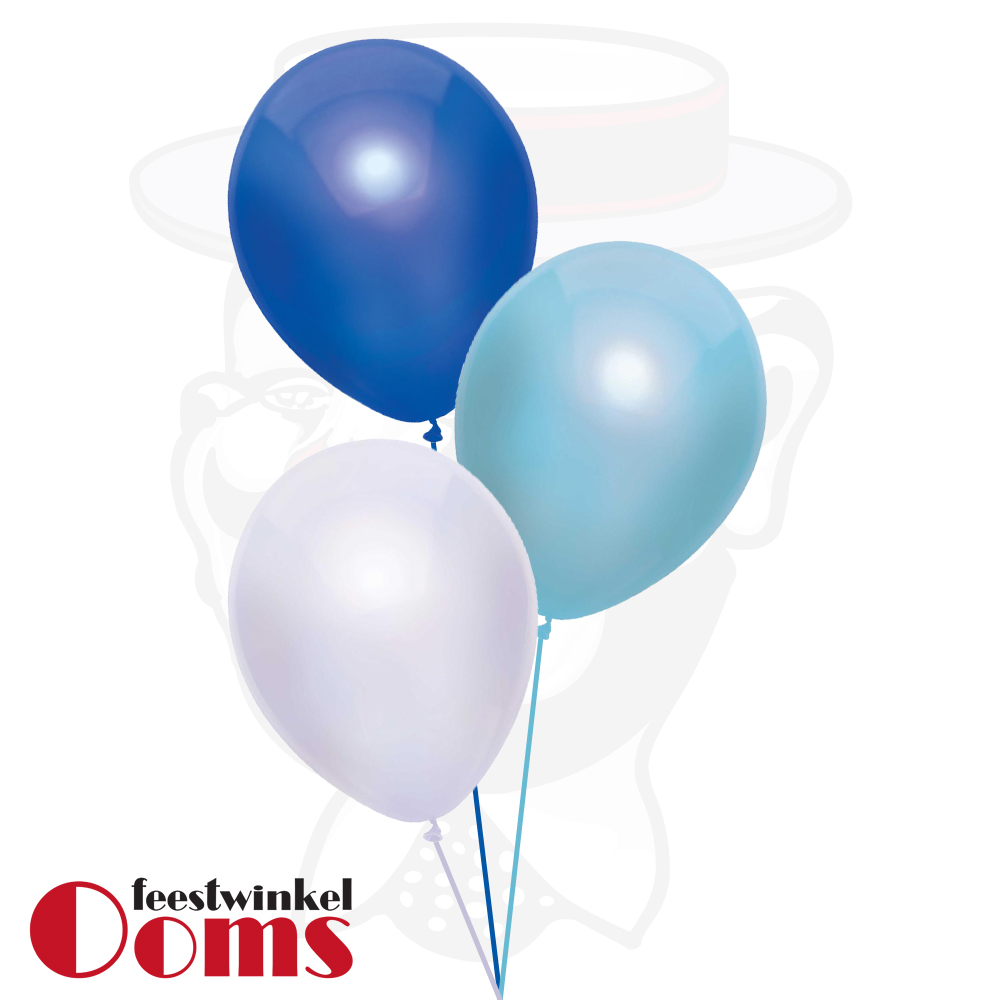 Ballonnen Tros 3st Blauw Tinten