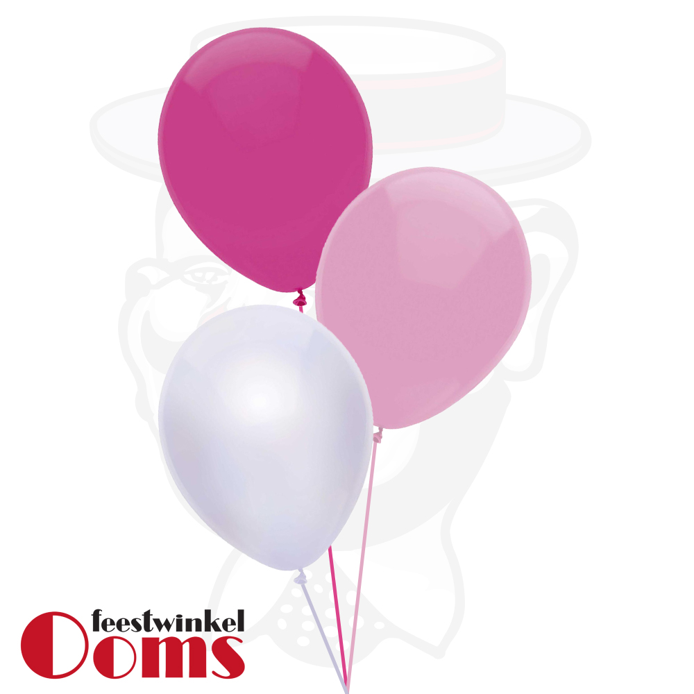 Ballonnen Tros 3st Roze Tinten
