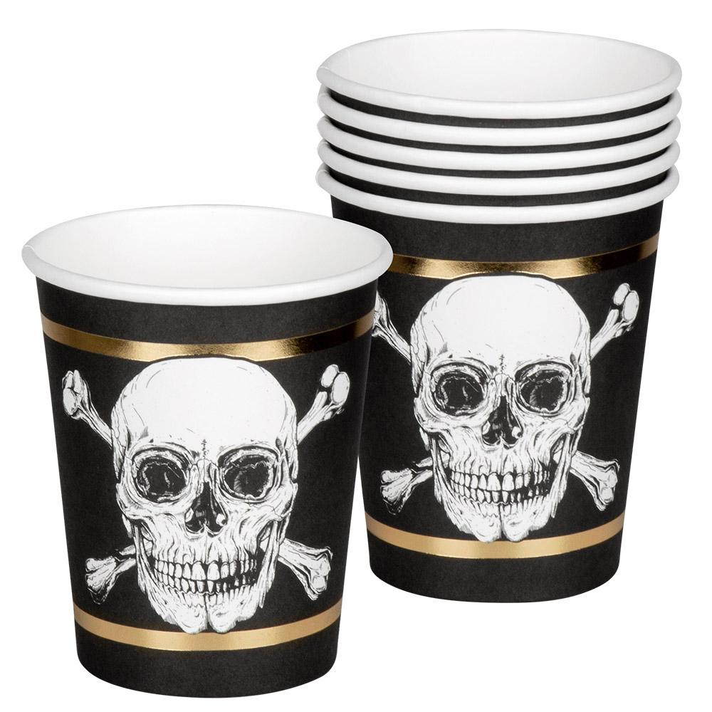 6st Bekers Piraten Zwart/Goud 250ml