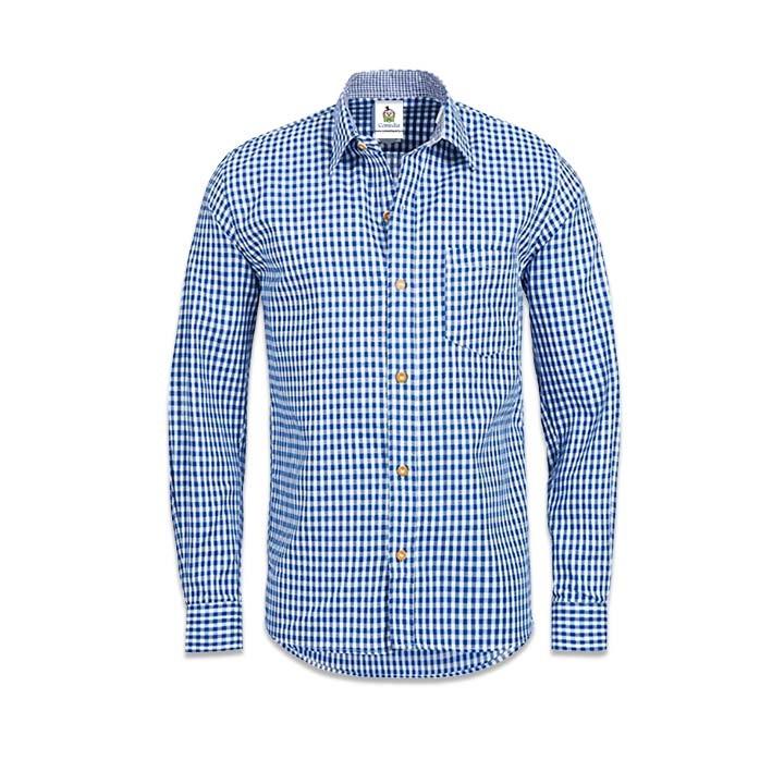 Blouse Tiroler Deluxe Blauw/Wit Heren