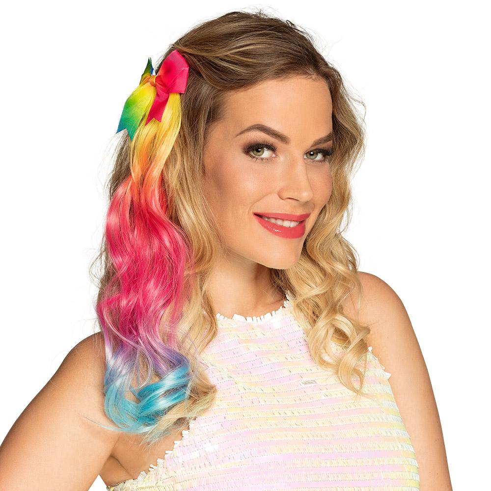 Hair Extension Regenboog met Strik