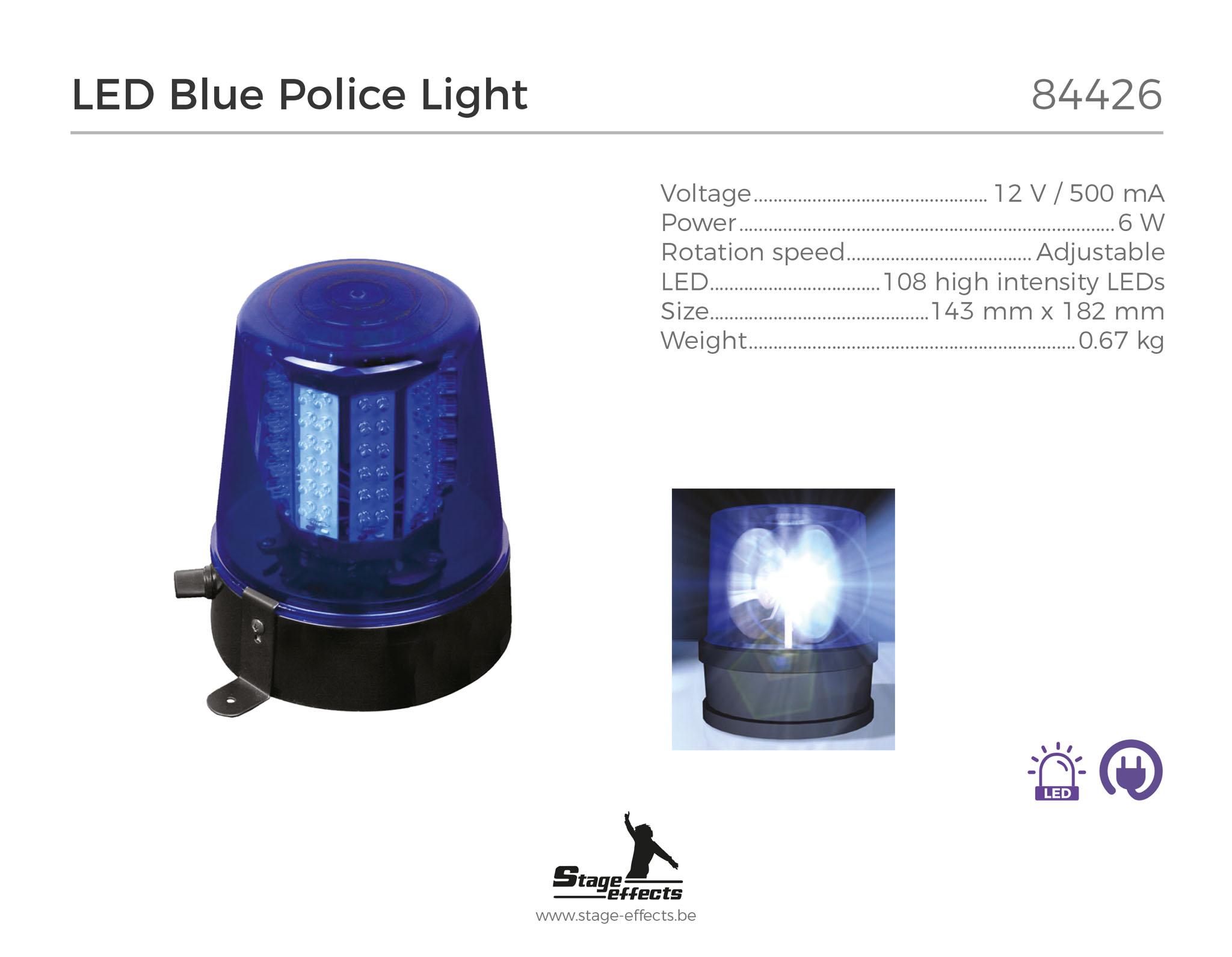 LED Zwaailicht Blauw Politie