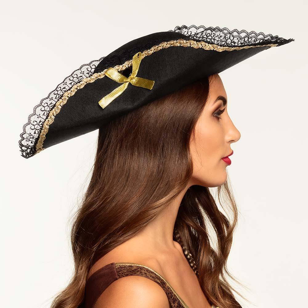 """Piraten Hoed """"Fanny"""" Zwart"""