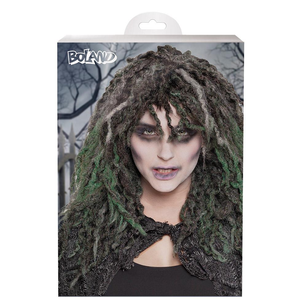 Pruik Swamp Zombie Zwart/Groen